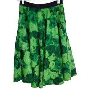 edge & estate Green Floral Pleated Line Skirt